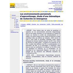 Les environnements personnels d'apprentissage, étude d'une thématique de recherche en émergence