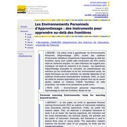 Revue Sticef.org - Les Environnements Personnels d'Apprentissage: des instruments pour apprendre au-delà des frontières