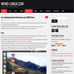 Les environnements de bureau sous GNU/Linux