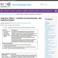 Ac-dijon Thème 1 : Sociétés et environnements : des équilibres (...)