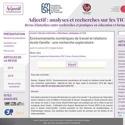 Environnements numériques de travail et relations école-famille : une recherche exploratoire