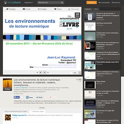 Les environnements de lecture numérique : fichiers, liseuses et matér…