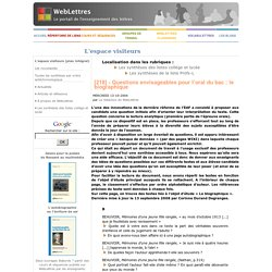 [218] - Questions envisageables pour l'oral du bac: le biographique