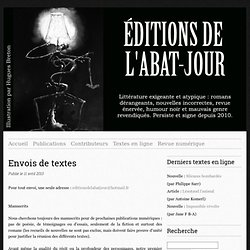 Envois de textes - Editions de l'Abat-Jour