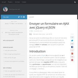 Envoyer un formulaire en AJAX avec jQuery et JSON