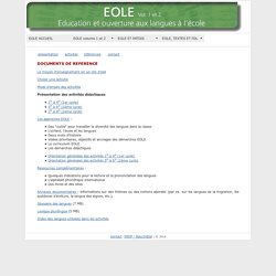 EOLE - Education et ouverture aux langues à l'école