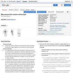 Brevet EP2063325B1 - Mouvement de montre mécanique - GoogleBrevets