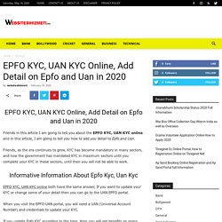 EPFO KYC, UAN KYC Online, Add Detail on Epfo and Uan in 2020