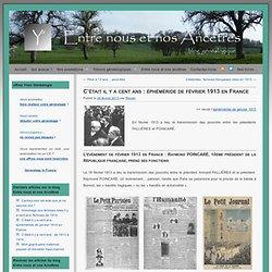 était il y a cent ans : éphéméride de février 1913 en France