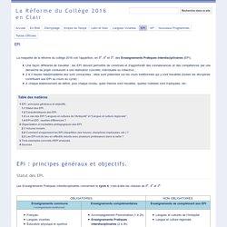 EPI - La Réforme du Collège 2016 en Clair
