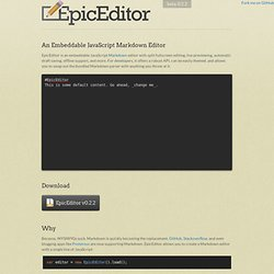 EpicEditor - An embeddable JavaScript Markdown editor - UX