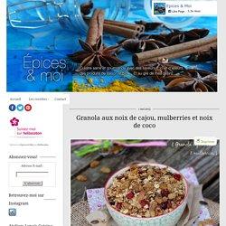 Granola noix de cajou, mulberries, cramberries, noix de coco, graines, flocons d'avoine & amandes