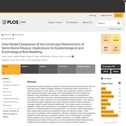 PLOS 29/07/14 Inter-Model Comparison of the Landscape Determinants of Vector-Borne Disease: Implications for Epidemiological and Entomological Risk Modeling