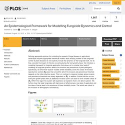 PLOS 10/08/12 An Epidemiological Framework for Modelling Fungicide Dynamics and Control