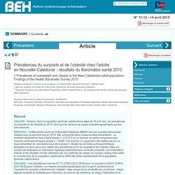 INVS 03/08/14 BEH - Prévalences du surpoids et de l'obésité chez l'adulte en Nouvelle-Calédonie : résultats du Baromètre santé 2010