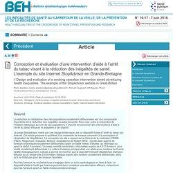 Conception et évaluation d'une intervention d'aide à l'arrêt du tabac visant à la réduction des inégalités de santé. L'exemple du site Internet StopAdvisor en Grande-Bretagne