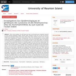 UNIVERSITE DE LA REUNION - 2015 - Thèse en ligne : Investigations éco-épidémiologiques et génétiques des Lyssavirus et des Paramyxovirus chez les micromammifères du sud-ouest de l'océan Indien