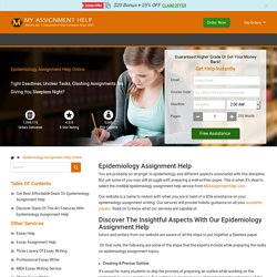 Epidemiology Assignment Help Online From 5000+ Experts 24/7