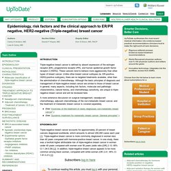 Epidemiology, risk factors and the clinical approach to ER/PR negative, HER2-negative (Triple-negative) breast cancer