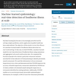 NATURE 06/11/18 Machine-learned epidemiology: real-time detection of foodborne illness at scale