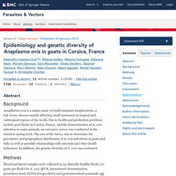 PARASITES & VECTORS 03/01/19 Epidemiology and genetic diversity of Anaplasma ovis in goats in Corsica, France