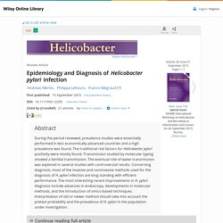 Helicobacter. 2015 Sep;20 Suppl 1:1-7. Epidemiology and Diagnosis of Helicobacter pylori infection.