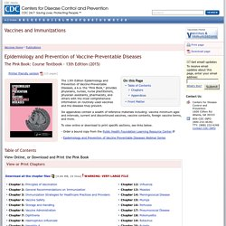 Pinkbook: Index - Epidemiology of Vaccine-Preventable Diseases