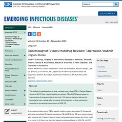 CDC EID – NOV 2015 – Au sommaire notamment: Epidemiology of Primary Multidrug-Resistant Tuberculosis, Vladimir Region, Russia ;