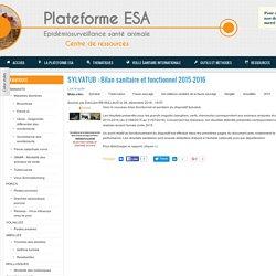 PLATEFORME ESA 28/12/16 SYLVATUB : Bilan sanitaire et fonctionnel 2015-2016