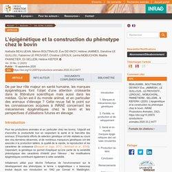 L'épigénétique et la construction du phénotype chez le bovin