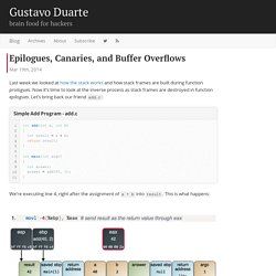 Epilogues, Canaries, and Buffer Overflows