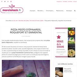 Pizza pesto d'épinards, roquefort et emmental