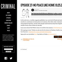 Episode 27: No Place Like Home (9.25.2015)