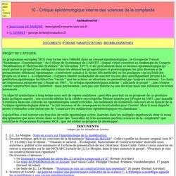 10 - Critique épistémologique interne des sciences de la complexité