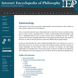 Epistemology [Internet Encyclopedia of Philosophy]