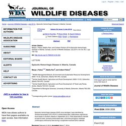 JOURNAL OF WILDLIFE DISEASES - JULY 2014 - Epizootic Hemorrhagic Disease in Alberta, Canada