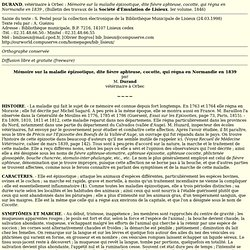 Document historique : Mémoire sur la maladie épizootique, dite fièvre aphteuse, cocotte, qui régna en Normandie en 1839 par M. D