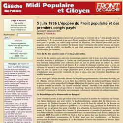 5 juin 1936 L'épopée du Front populaire et des premiers congés payés