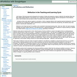 ePortfolios and Reflection - ePortfolios with GoogleApps