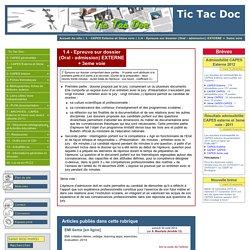 1.4 - Epreuve sur dossier (Oral - admission) EXTERNE + 3eme voie