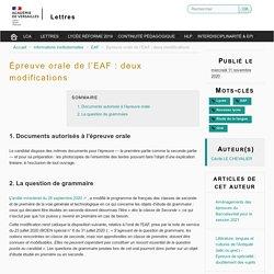 Épreuve orale de l'EAF : deux modifications - Lettres