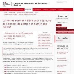 Carnet de bord de l'élève pour l'Épreuve de Sciences de gestion et numérique (SDGN)