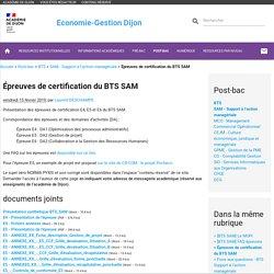 Épreuves de certification du BTS SAM