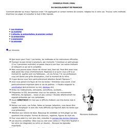 EAF - Épreuves orales - Conseils méthodologiques pour l'oral