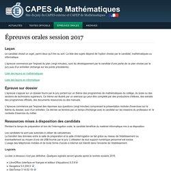 CAPES de Mathématiques, Site du jury du CAPES externe et CAFEP de Mathématiques