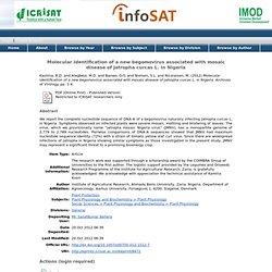 ICRISAT - 2012 - Molecular identification of a new begomovirus associated with mosaic disease of Jatropha curcas L. in Nigeria
