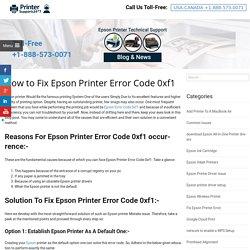 How to Fix Epson Printer Error Code 0xf1