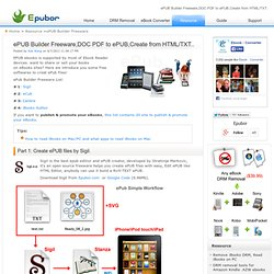 ePUB Builder Freeware,DOC PDF to ePUB,Create from HTML/TXT..