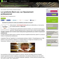 Le syndrome Burn-out, ou l'épuisement professionnel